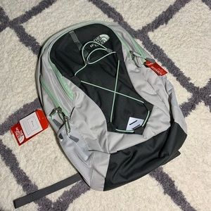 North face jester backpack in surf green and grey